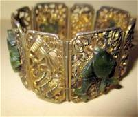 Silver & Jade Vintage Cuff Bracelet