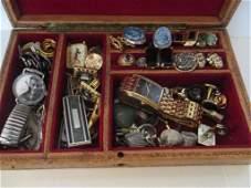 Men's Jewelry Box with Vintage Cufflinks Etc.