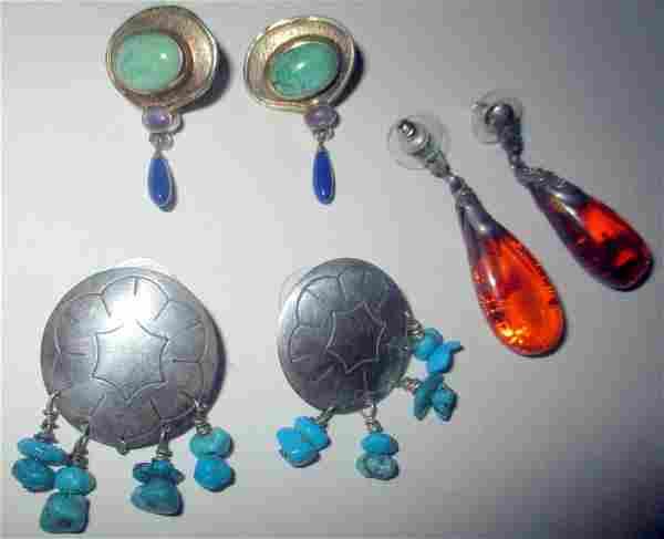 Three Pair of Vintage Sterling Earrings