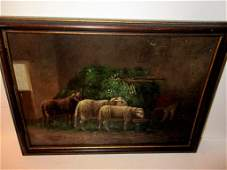 Antique Oil Painting of Barn & Sheep