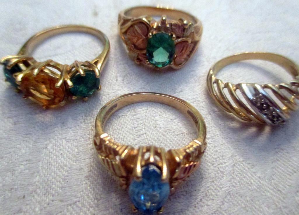 Four 10K Gold Rings