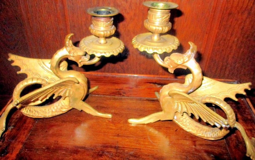 Pair of Winged Dragon Candlesticks