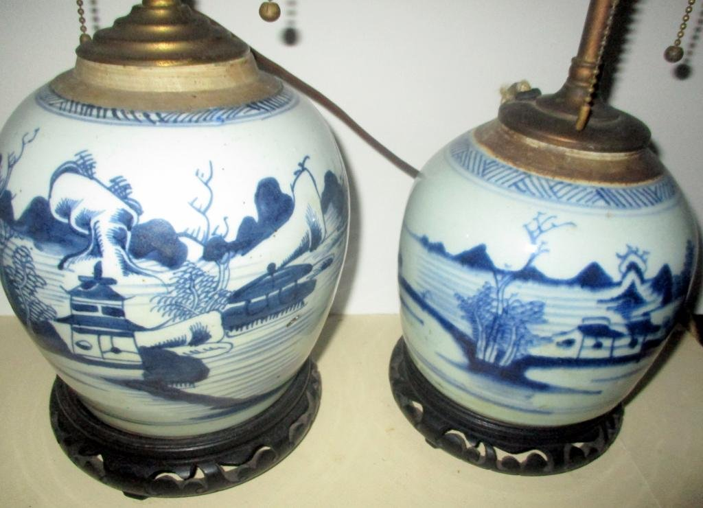 Two Canton Ginger Jar Lamps
