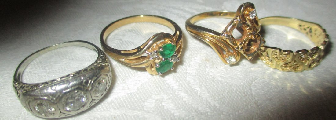 Lot of Four 14K Gold Rings Set with Stones
