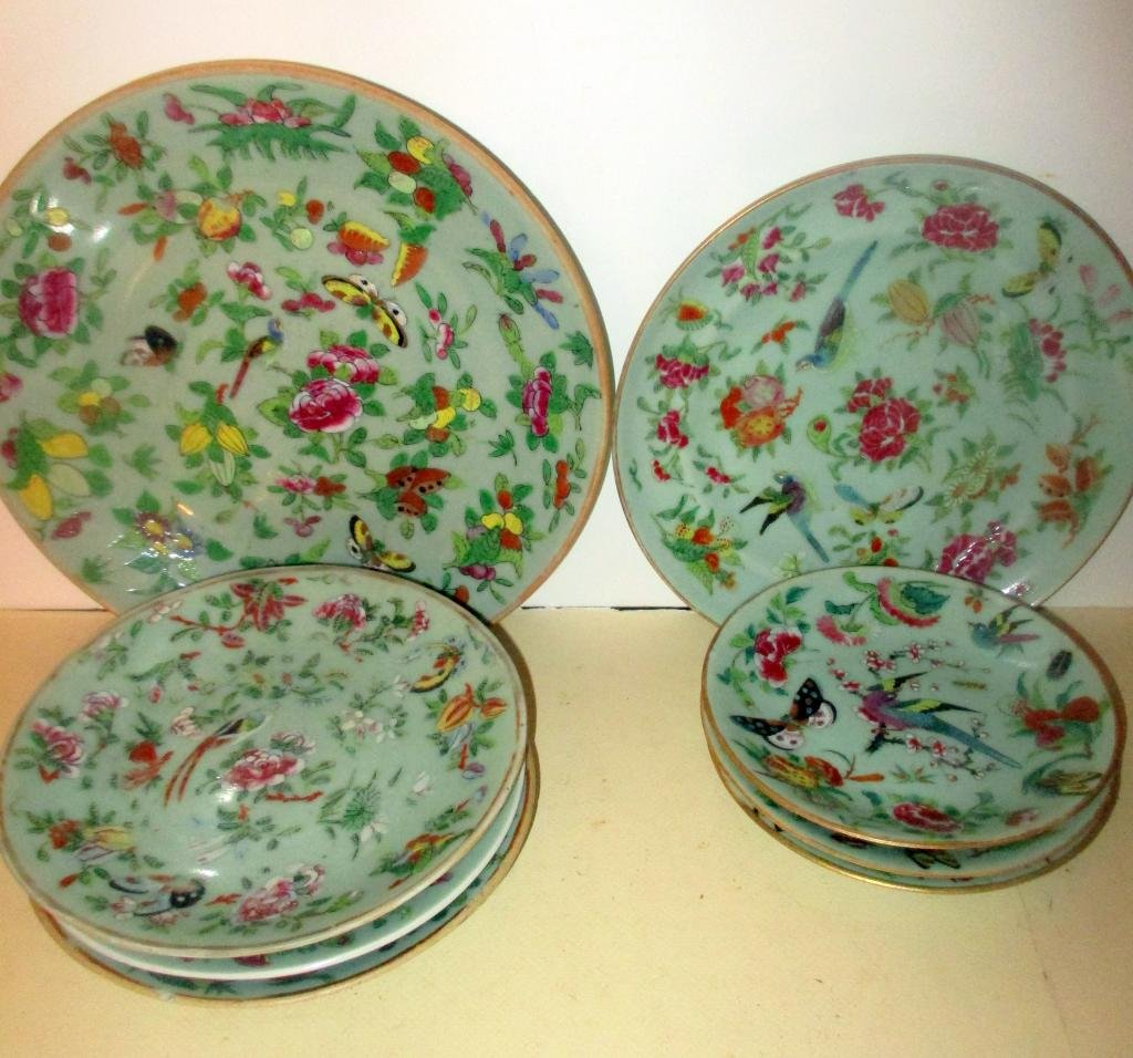 Lot of Eight Chinese Rose Celadon Plates