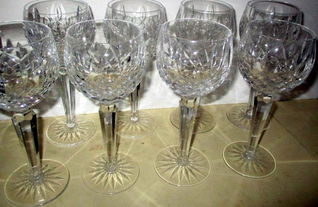 Set of Fourteen Signed Waterford Wine Goblets