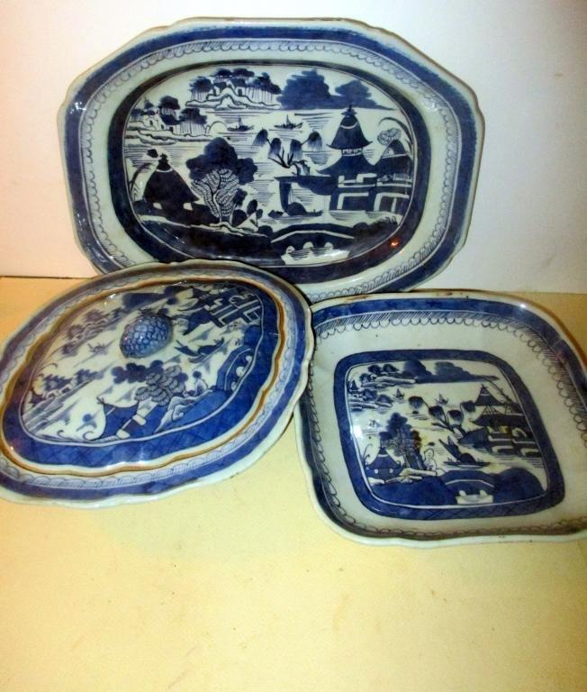 Three Piece Lot of Antique Canton Porcelain