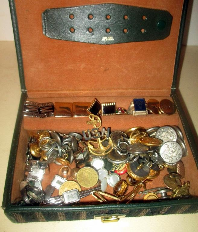 Misc. Box Lot of Men's Vintage Jewelry