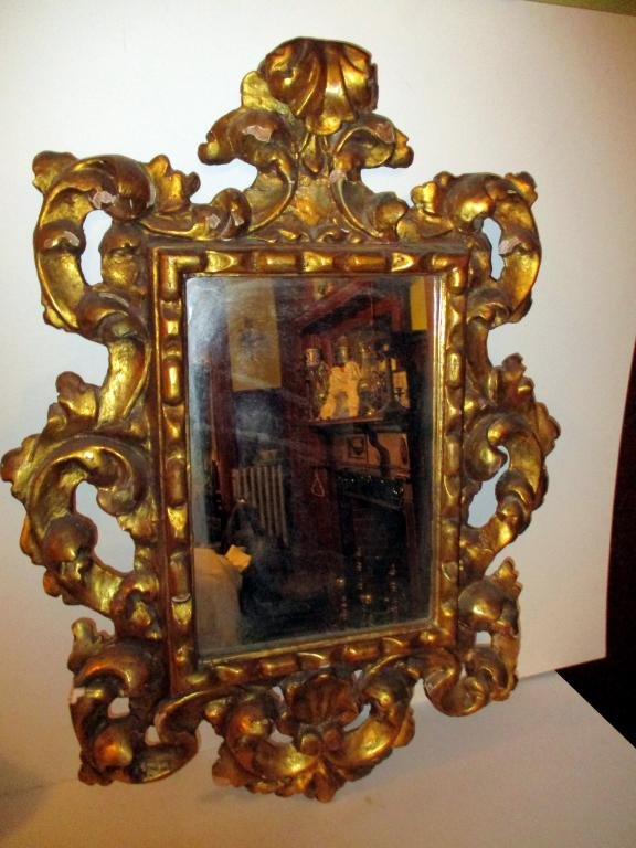 Baroque Carved Wood Gilt Mirror Circa 1920