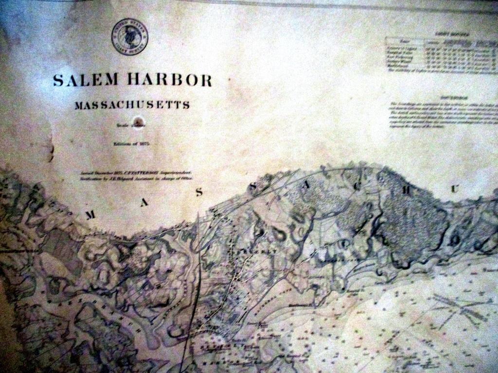 Antique Map of Salem, MA Harbor 1875