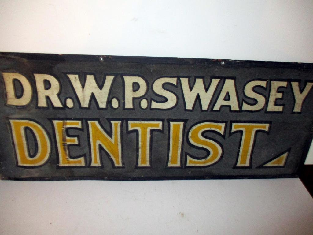 Late 19th C. Dentist Metal Trade Sign