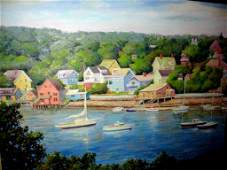 Large Oil on Canvas Smiths Cove Rockport MA