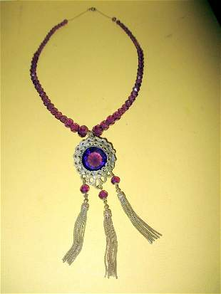 Edwardian Vintage Amethyst & Gold Filled Necklace
