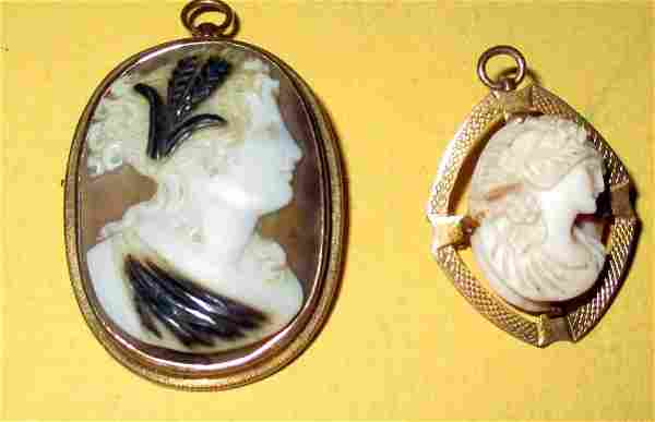 Two Victorian Pendant / Brooches Set in Gold