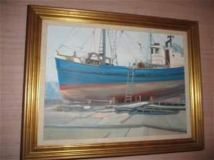 Oil on Canvas by Artist John Nesta Fishing Trawler