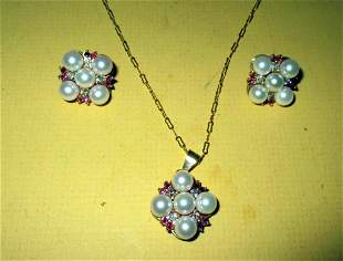 14K Set of Jewelry/ Pearls Diamonds & Rubies