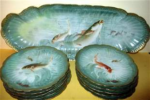 Hand Painted Limoges Fish Set for Ten