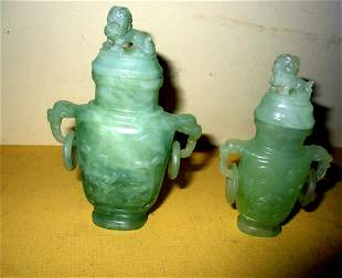 Two Chinese Carved Jade Scent Bottles