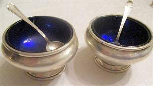 Two Sterling Open Salts with Spoons