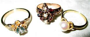 Three 14k Gold Rings with Stones