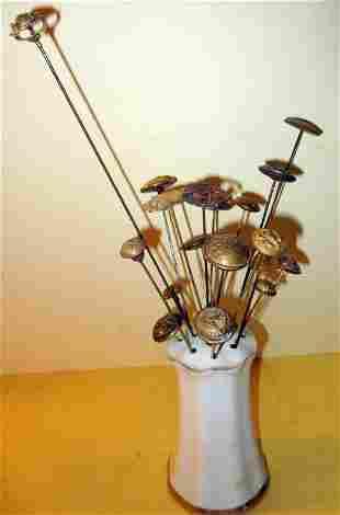 Vintage Hat Pins & Porcelain Holder