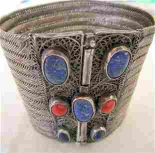 Woven Silver  Cuff Bracelet w/ Stones