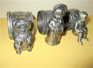 Three Figural Victorian Silver Plate Napkin Rings