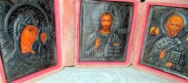 Traveling Icon Triptych w / Silver