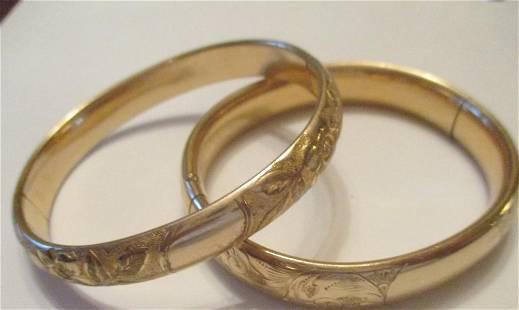Two Gold Filled Bangle Bracelets