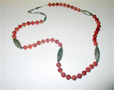 Sponge Coral & Silver Bead Necklace