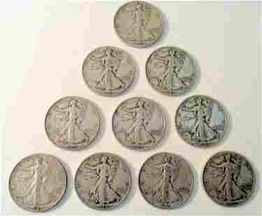Lot of Ten Standing Liberty Half Dollars