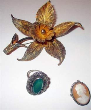 Three Pieces of Vintage Silver Jewelry
