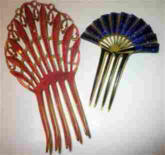 Two Vintage Celluloid Hair Combs Circa 1920s