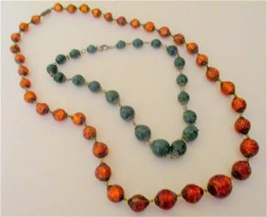 Two Vintage Bead Necklaces Circa 1920s