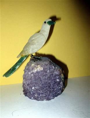 Carved Quartz Bird Perched on Amethyst