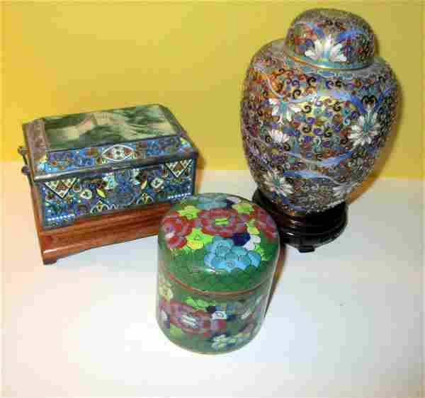 Three Pieces of Chinese Cloisonne Obiects
