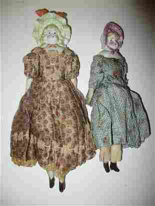 Two 19th C. Bisque Head Miniature Dolls