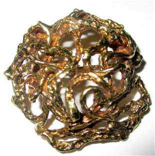 Artisan Made 14K Gold Brooch