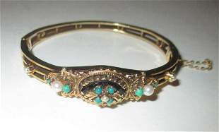14K Gold Etruscan style Bracelet with Turquoise