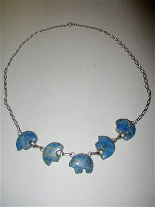 Signed E Etsitty Sterling and Turquoise Necklace