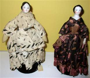 Two Porcelain Pin Top Head Dolls