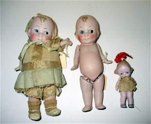 Three Vintage Kewpie Dolls