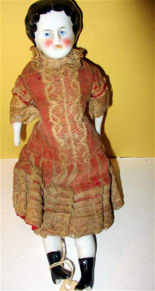 19th C. Porcelain Low Brow Doll