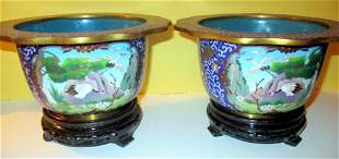 Pair of Cloisonne Bowls on Stands