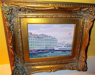 Painting of Ferry Docking in Boston