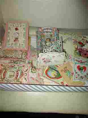 Box Lot of Victorian Valentines Cards