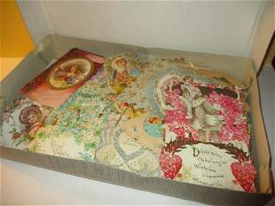 Box Lot of Over 100 Victorian Valentine Cards