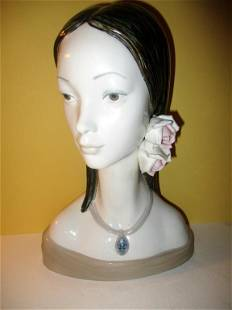 Iladro Porcelain Bust of a Girl with Flowers