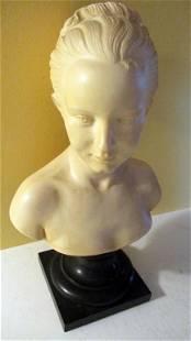 Italian Bonded Marble Bust of Girl