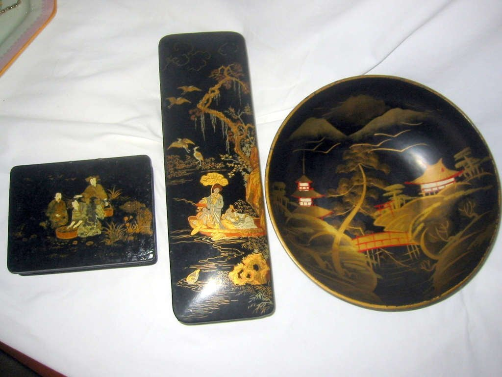 Three Piece Lot of Japanese Lacquer-ware